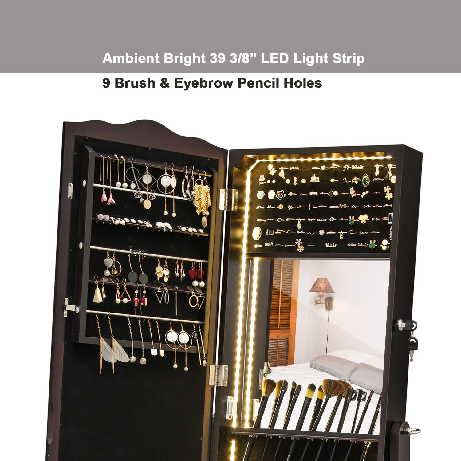 SONGMICS LED Jewelry Cabinet Lockable Jewelry Armoire with Full Length Mirror, Makeup Tray and Large Drawer Base Brown Patented Mother's Day Gift UJJC87BR by SONGMICS (Image #4)