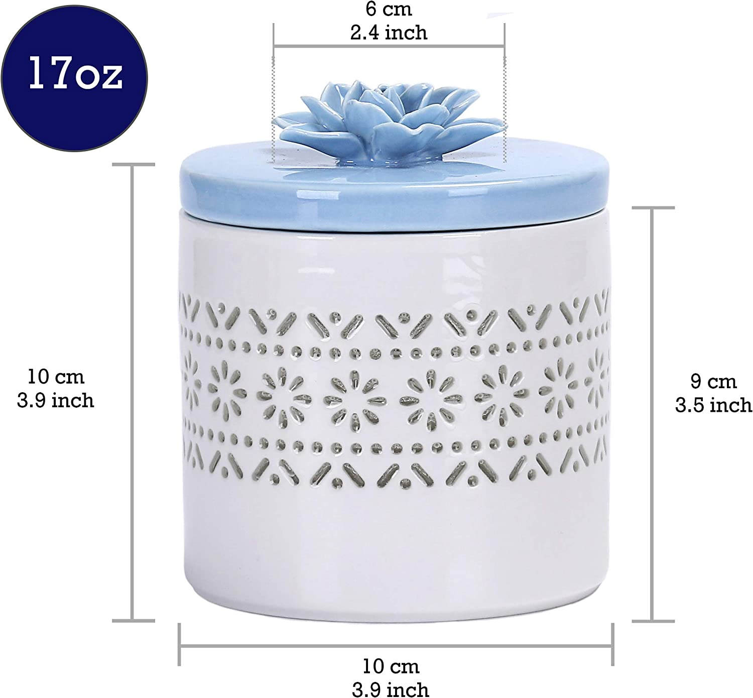 Bico Handcrafted Porcelain Baby Blue Lotus Translucent 500ml Apothercary Jar Storage Jar for Bathroom and Dresser Canister