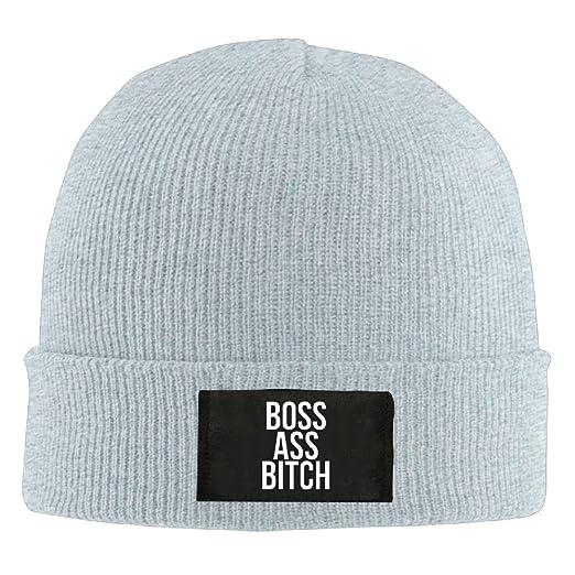 c6ee11a15ac Amazon.com  JJZ Man Boss Ass Bitch Funny Winter Beanie Hats Skull ...