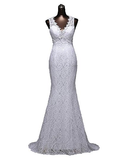 2cad5c2d670a Angel Formal Dresses Women's V Neck Open Back Appliques Court Train Mermaid  Lace Wedding Dresses(
