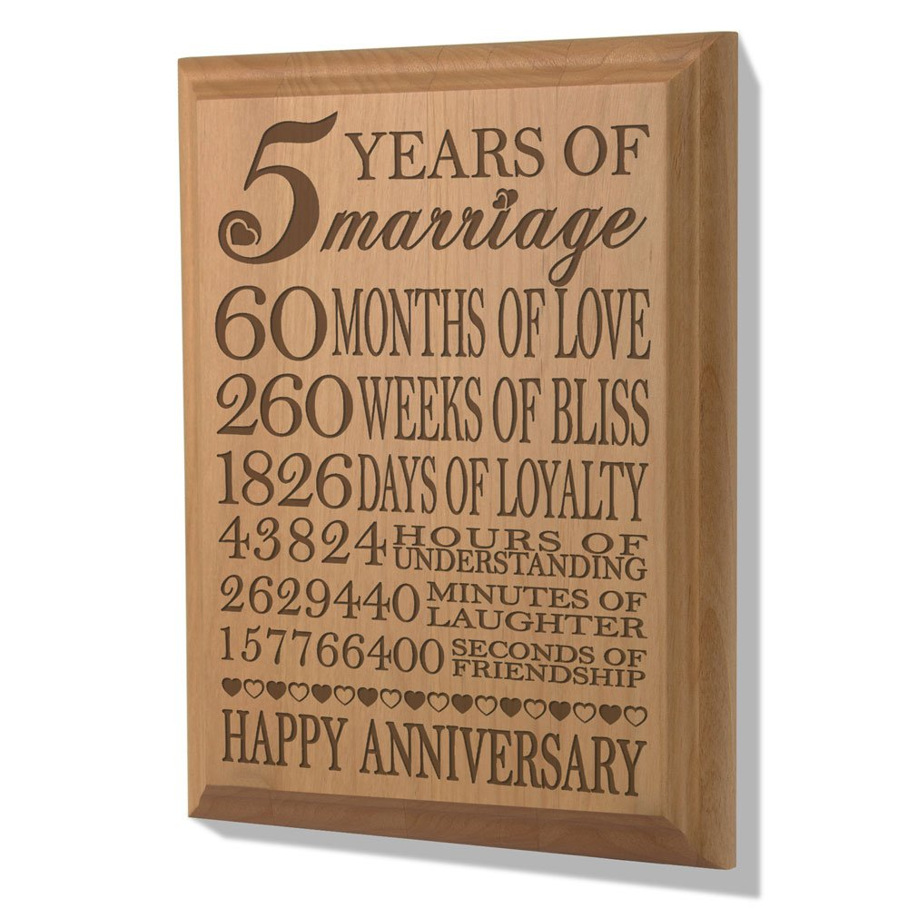 Amazon kate posh our 5th anniversary wooden plaque home amazon kate posh our 5th anniversary wooden plaque home kitchen biocorpaavc Gallery