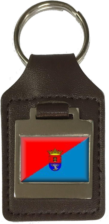 Leather Keyring Engraved Arrecife City Spain Flag