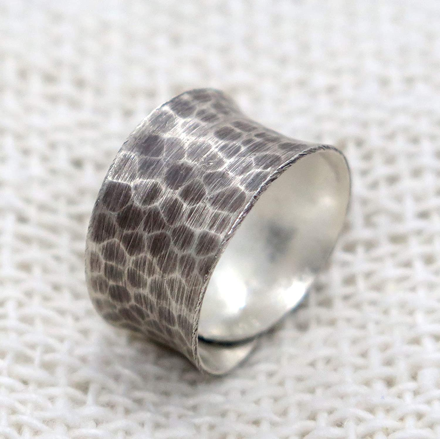 Hammered Sterling Silver Wide Band Ring, Handmade Oxidized Silver Convex Adjustable Wrap Band Ring, Also as Thumb ring