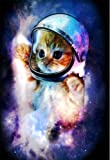 "HommomH 60"" x 80"" Blanket Comfort Warmth Soft Cozy Air conditioning Easy Care Machine Wash Astronaut Cat in Space"