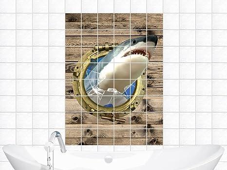 Adesivi piastrelle adesivo per bagno bull occhio squalo vetro