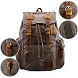 GEARONIC TM Men's Outdoor Vintage Canvas Military Shoulder Travel Hiking Camping School Bag Backpack Fit for Notebook Macbook 11 , 13, 15 inch Air Pro Laptop