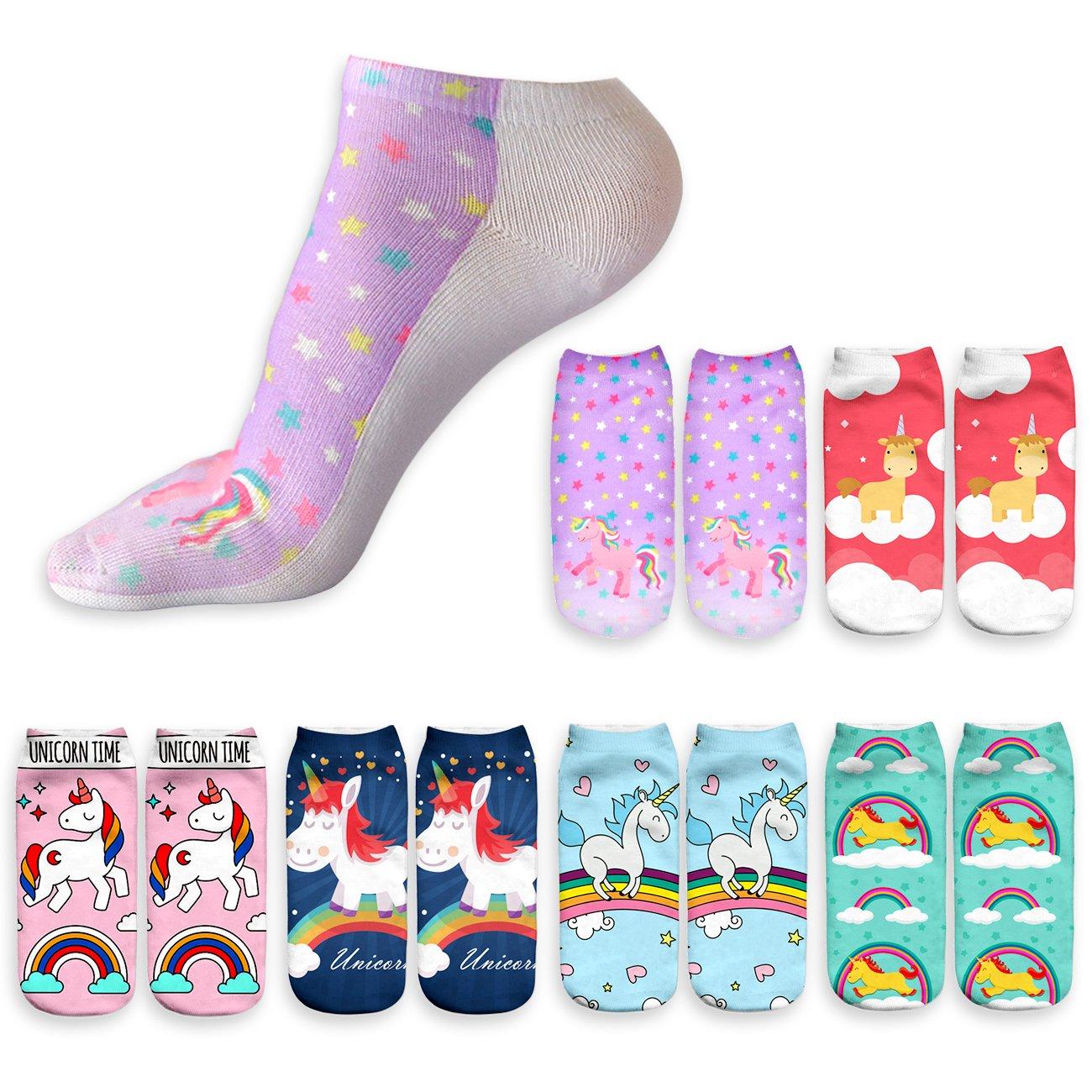 DRESHOW Funny Ankle Socks Womens No Show Cute Unicorn Cartoon Socks for Teen Girls 3D Print Horse Socks Pack 2/6 SO0021-2