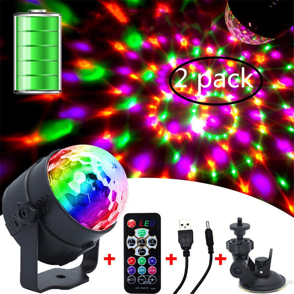 JIASHU 2Pcs Sound Activated Party Lights with Remote Control Dj Lighting, RBG Disco Ball, Strobe Lamp 7 Modes Stage Par Light for Home Room Dance Parties
