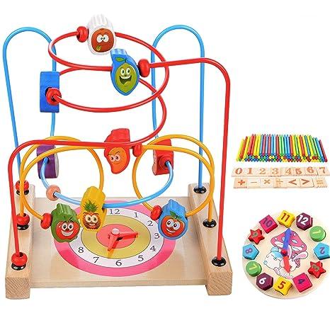 addb896bfdd5db MUITOBOM Legno Giocattoli Labirinto Perline, Perle in Legno per Bambini  Cerchio Perline Labirinto Giocattolo Giocattolo