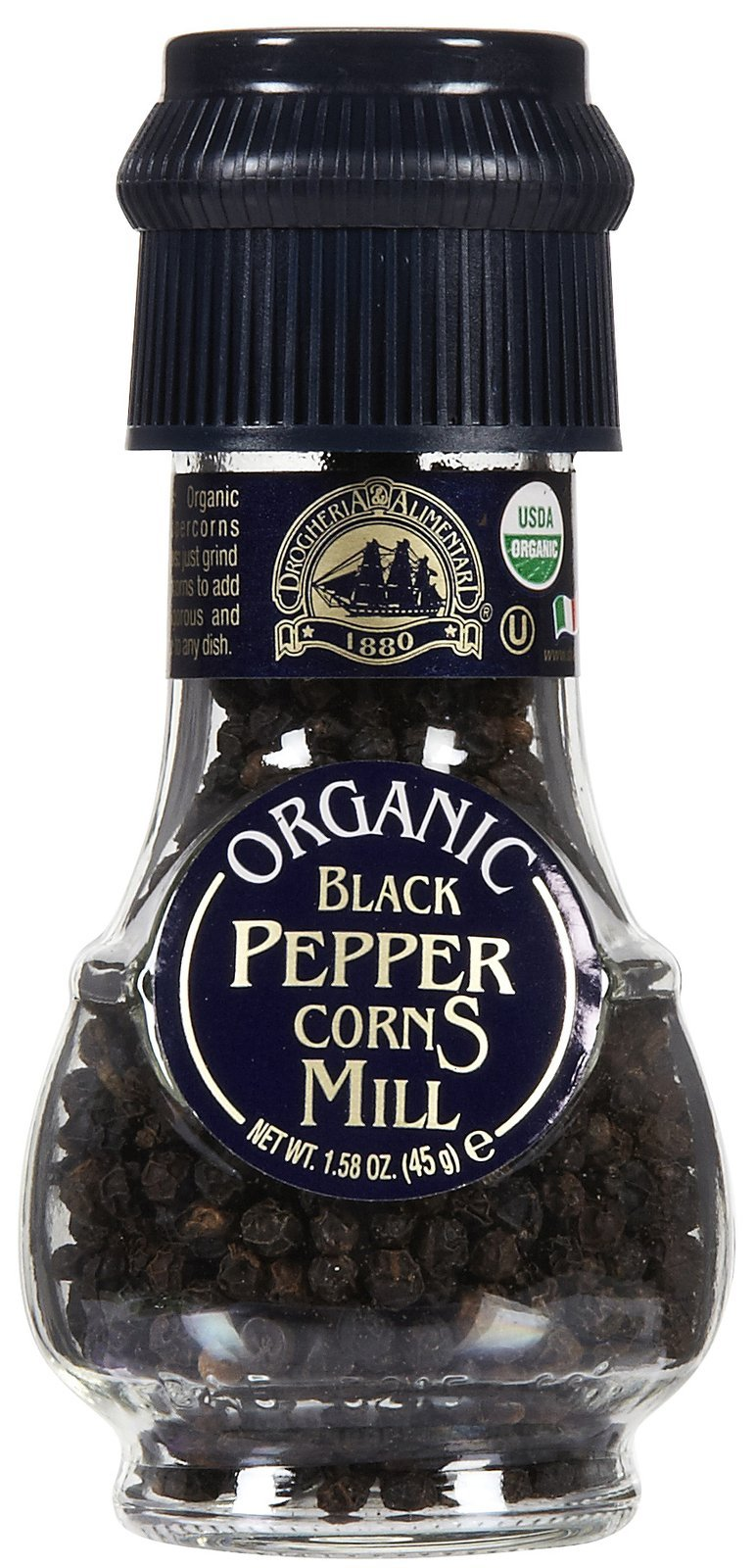 Drogheria & Alimentari organic black pepper corns mill 1.58 oz (pack of 6)