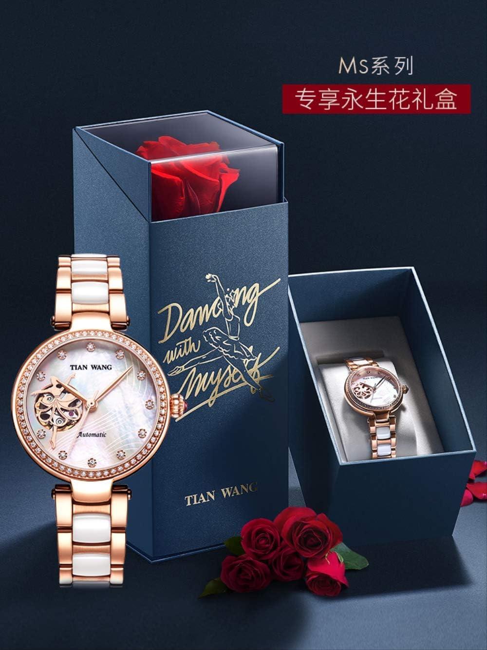 WDXDP Relojes Moda Reloj De Cerámica Mecánico Reloj De Las Mujeres Eterna Flor Regalo Caja Regalo De Cumpleaños para La Novia: Amazon.es: Deportes y aire libre