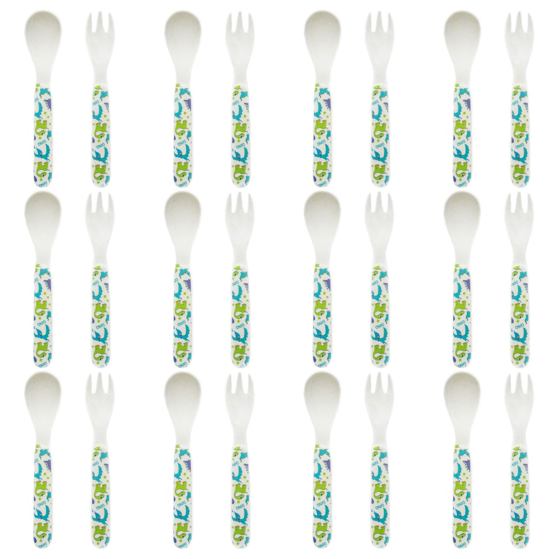 Tiny Dining Children's Bamboo Fibre Dining Fork & Spoon Cutlery Set - Dinosaur - Pack of 12 by Tiny Dining