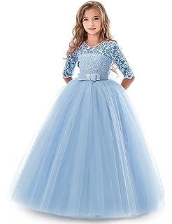 a35899f95bfb NNJXD Vestito Cerimonia Nuziale Principessa Vestito Promenade Ricamo  Spettacolo Ragazze