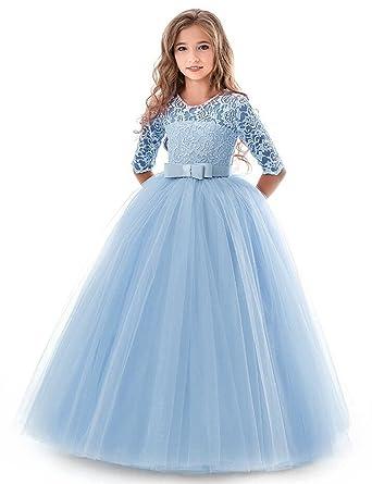 NNJXD NNJXD Mädchen Festzug Stickerei Prom Kleider Prinzessin ...