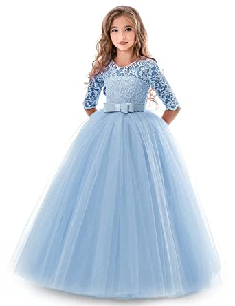 NNJXD Girls Pageant Embroidery Ball Gown Princess Wedding Dress Size (130) 7-8