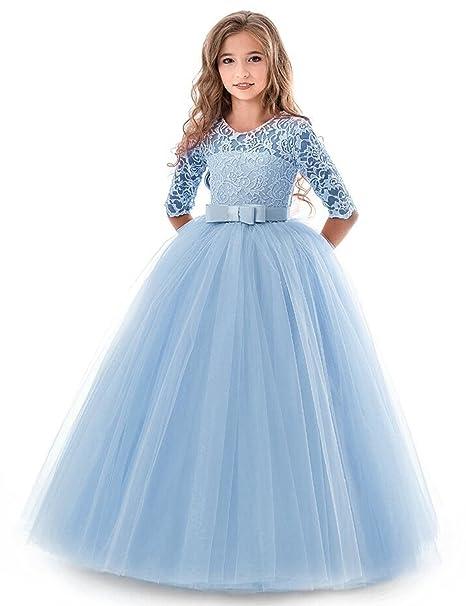 NNJXD Vestidos De Princesa Fiesta de la Boda de Las Niñas, Bordado, Baile de graduación, Vestido, Princesa, Vestido de Novia: Amazon.es: Ropa y accesorios