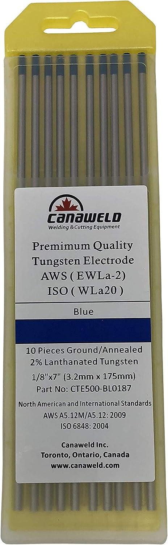 10-Pack 1//8 CANAWELD TIG Welding Tungsten Premium Quality 2/% Lanthanated Electrode 7 Blue, EWLa-2 3.2 mm