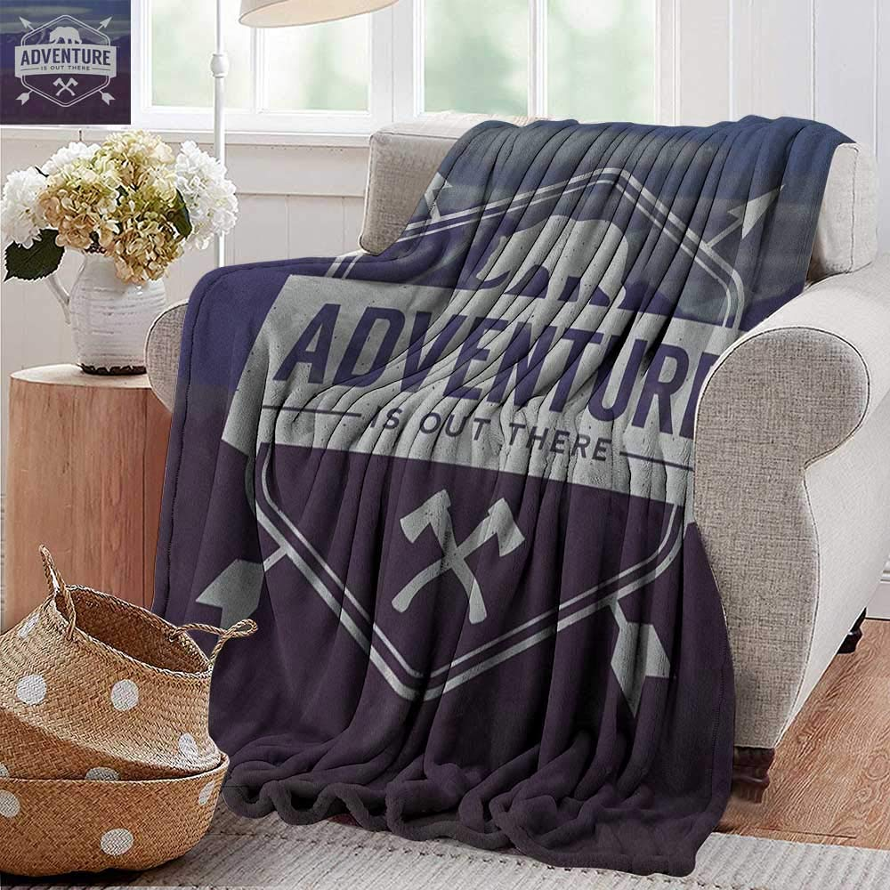 XavieraDoherty Throw Blankets Fleece Blanket,Adventure,Adventure Logo with a Motivational Quote Hatchets and Bear Mountain Landscape, Stale Blue,300GSM, Super Soft and Warm, Durable 70''x90'' by XavieraDoherty