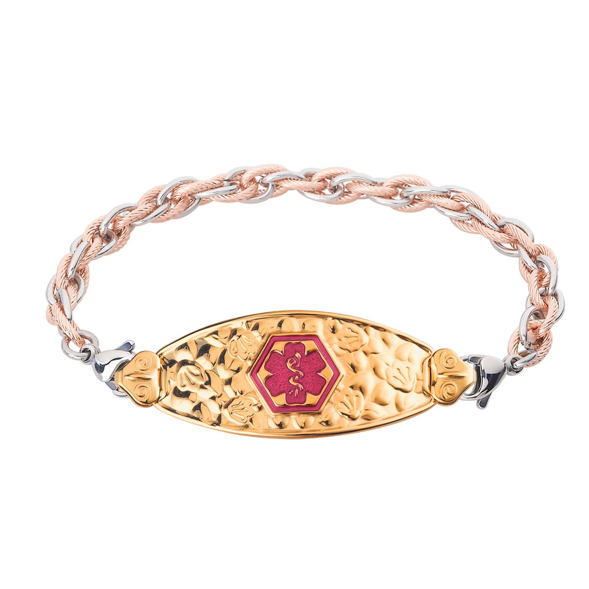 Divoti Custom Engraved PVD Gold Cherry Blossom Medical Alert Bracelet -Inter-Mesh Rose Gold/Silver-TP Magenta-6.0''
