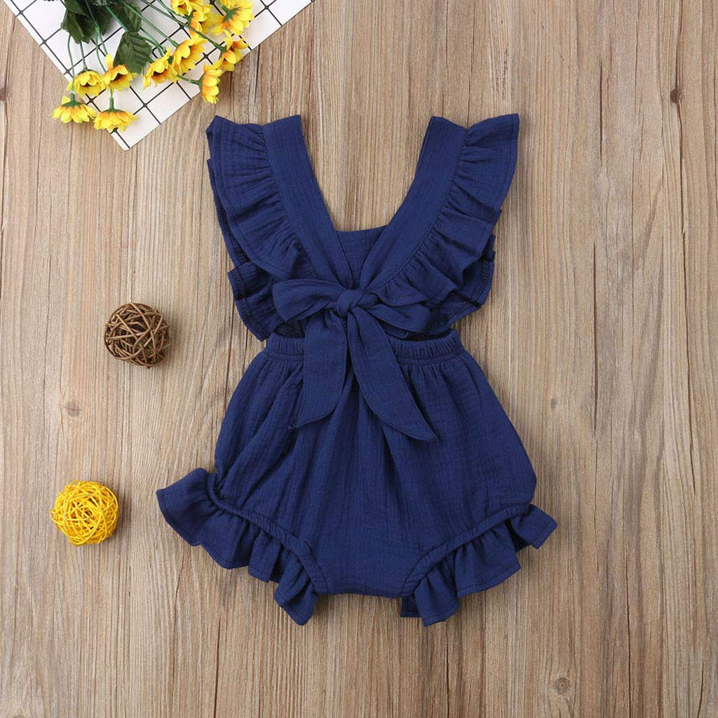 Greal 2019 New Cute Infant Baby Girls Sleeveless Color Solid Ruffles Backcross Romper Bodysuit Outfits Set Dark Blue by G-real-Girls Outfits (Image #2)