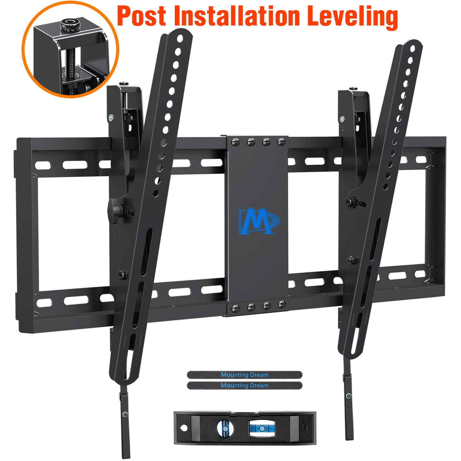 Mounting Dream TV Wall Mount with Post Installation Leveling for Most 37-70'' Flat-Panel TVs, Tilting TV Mount up to 132lbs, VESA 600x400mm, Low Profile TV Wall Mount Bracket Fits 16''- 24'' Wood Studs