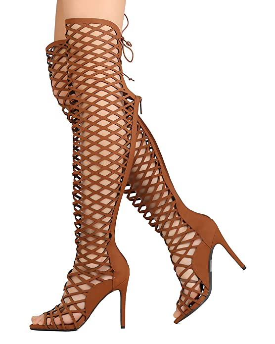 c07f08124 Amazon.com | Breckelle's Women Leatherette Thigh High Peep Toe Lace Up Cut  Out Stiletto Boot FI53 - Tan (Size: 8.0) | Boots