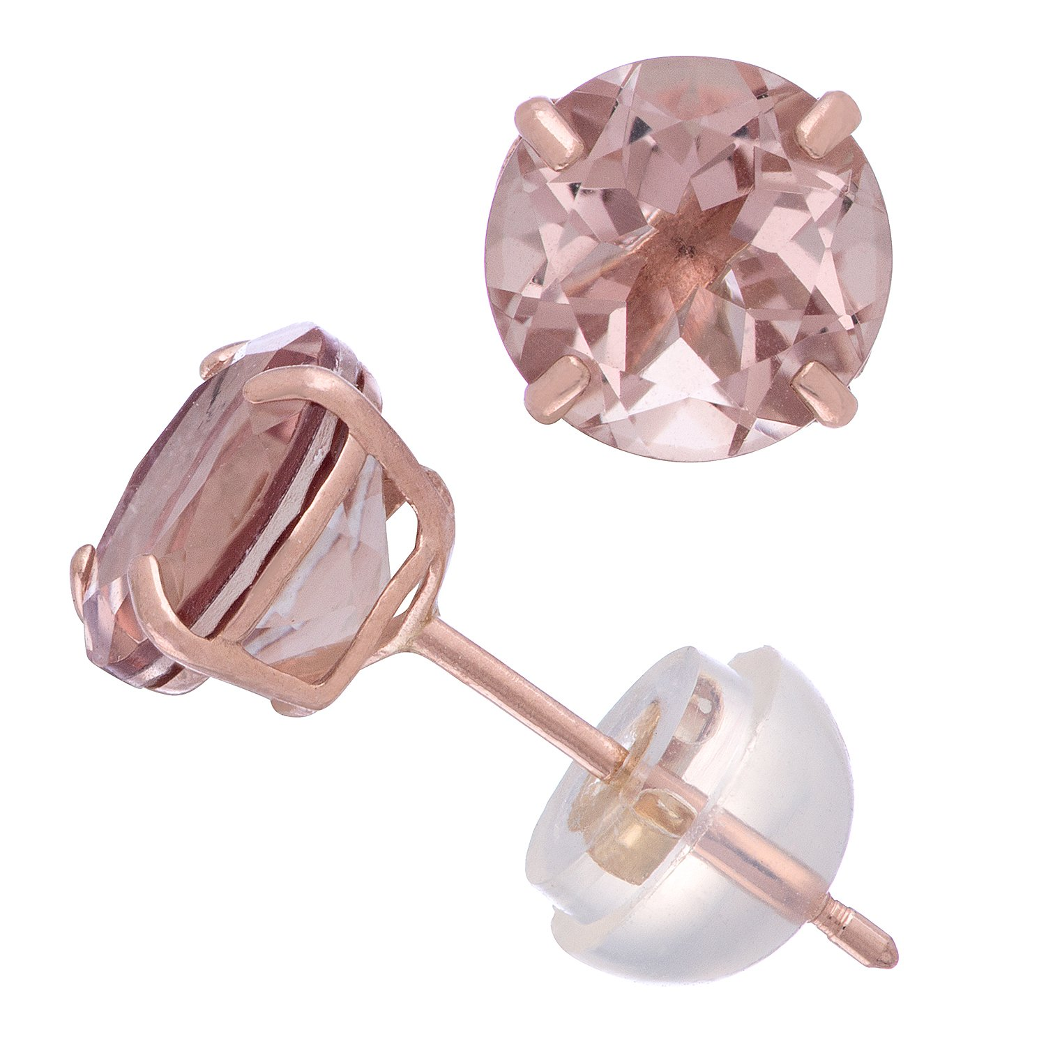 Simulated Morganite Round Shape Stud Earrings in 10K Rose Gold, Comfort Fit - 6mm