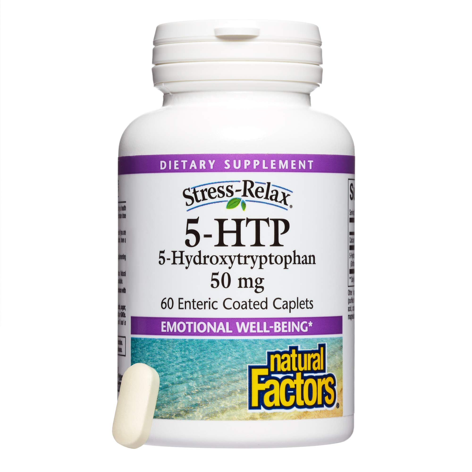 Natural Factors - Stress-Relax 5-HTP 50mg, Supports Emotional Well-Being, 60 Enteric Coated Caplets