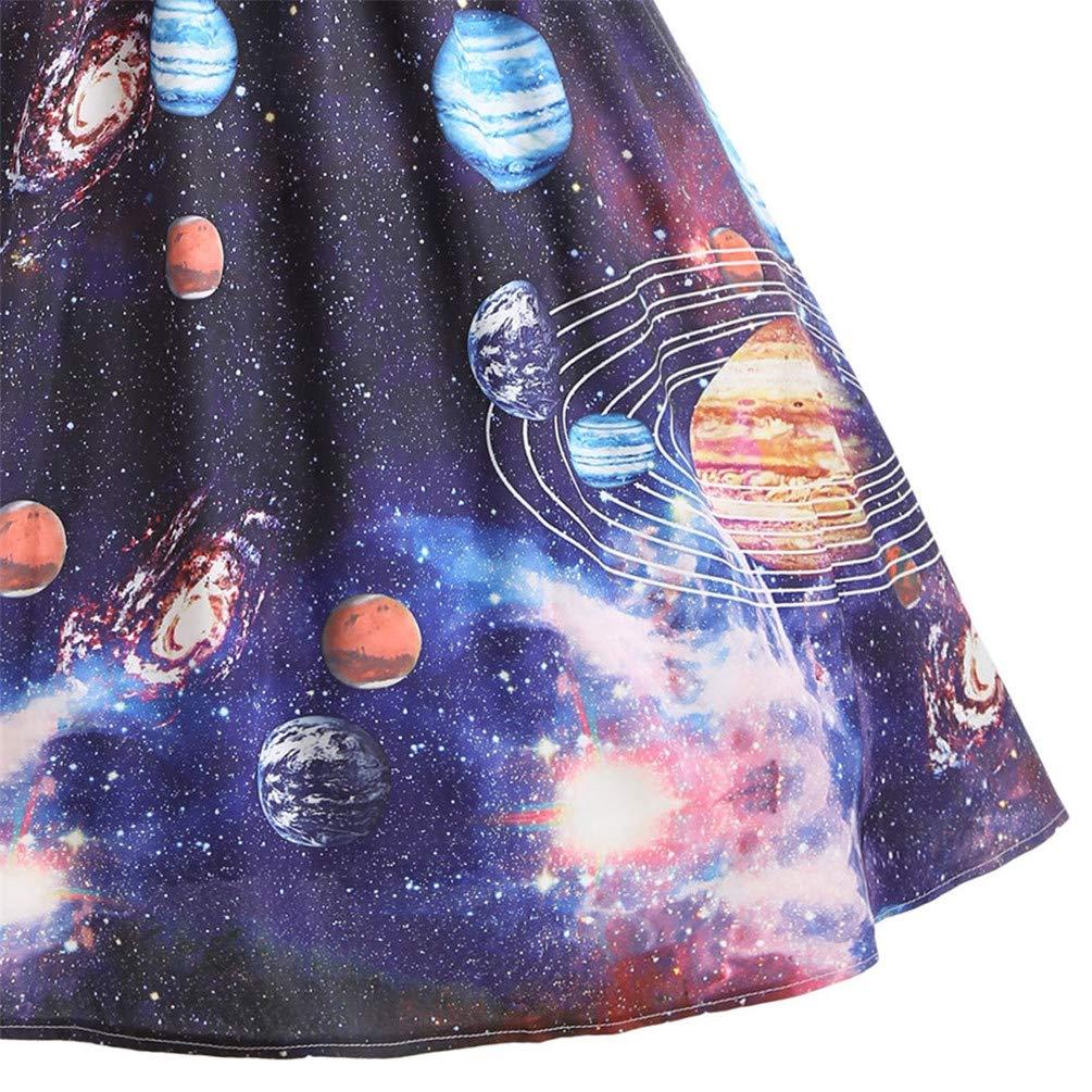 c8dd8a198ec3 Amazon.com: Nicetge Women's Vintage Sleeveless Starry Night Sky Planet Print  Dress A Line Cocktail Party Dress: Clothing