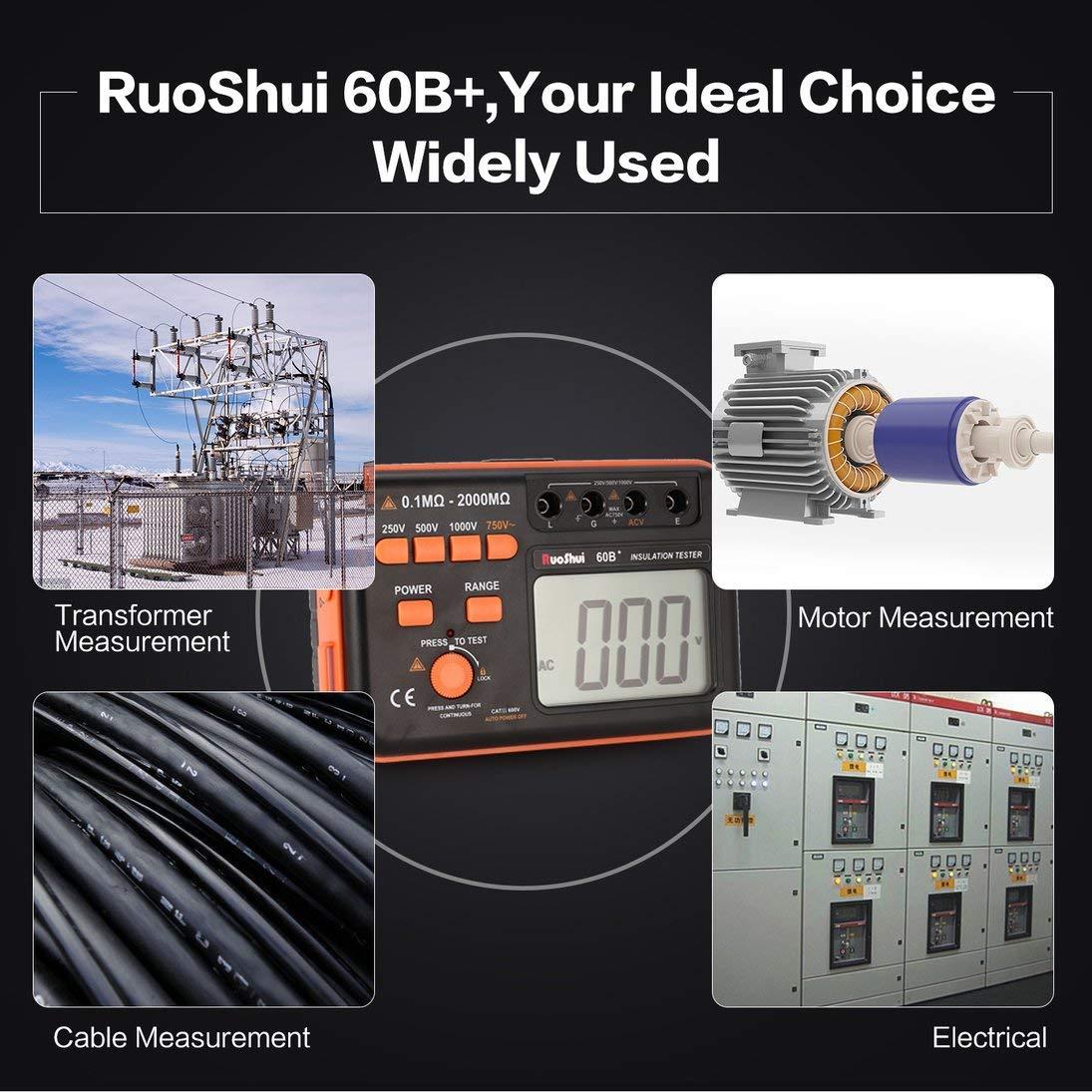 Ohmmeter RuoShui 60B Elektrische Prüfung 1000V Digital Auto