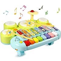 Mesa de música de juguetes Ohuhu. Mesa multifunción para niños, con juegos de tambor, teclado de piano para descubrir y tocar o xilófono. Juguetes de aprendizaje para bebés. Regalos de cumpleaños