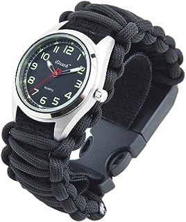 amazon com men women survival watch 6 in 1 survival fire starter premium adjustable 8 in 1 water resistant survival tactical emergency watch bracelet