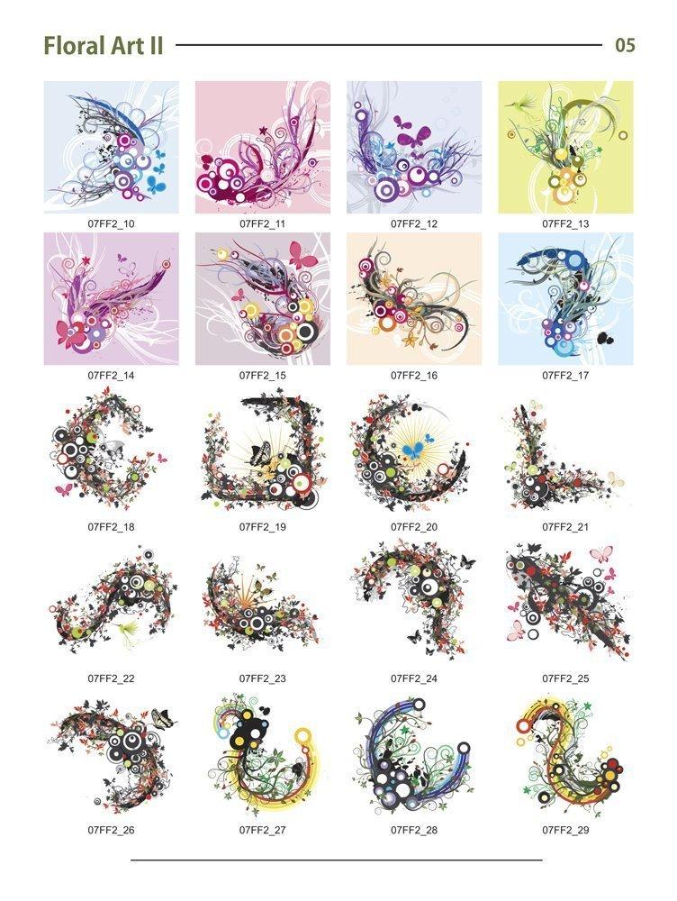Floral 1-3 Backgrounds MEGA Bundle-Vector Art Images-Grunge Floral, Abstract Flower Graphic Design DVD by Clipart deSIGN USA