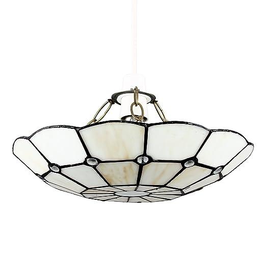Tiffany style white stained glass cortez jewel ceiling pendant light tiffany style white stained glass cortez jewel ceiling pendant light shade aloadofball Images