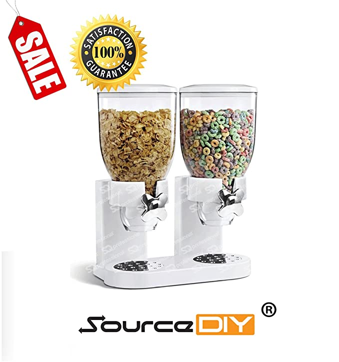 Doble almacenador negro, dispensador de cereales para alimentos secos. Organizador de cereales con diseño moderno y cierre hermético y de calidad premium ...