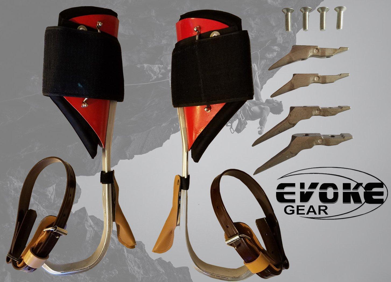 ツリークライミングスパイクセット アルミクライミングスプール 調節可能なエクストラポールギャフエヴォーク   B0736KDP95