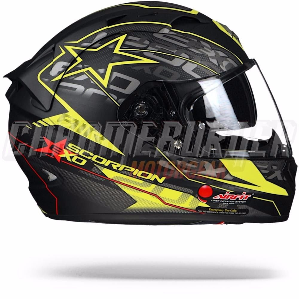 Scorpion – Casco para Moto EXO-1200 AIR Solis, mate negro/amarillo neón, S: Amazon.es: Coche y moto