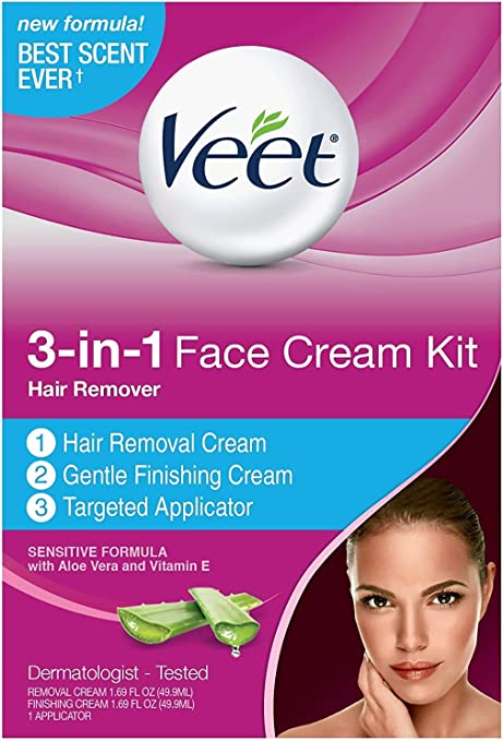 Amazon Com Veet 3 In 1 Face Cream Hair Remover Kit Normal Formula With Aloe Vera Vitamin E 1 Ea Pack Of 6 Health Personal Care