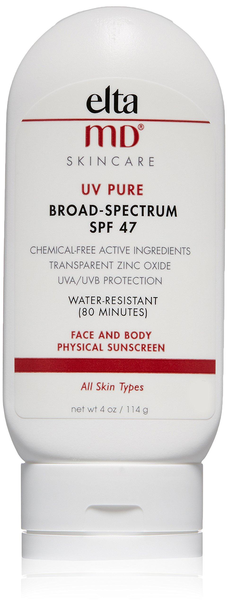 EltaMD UV Pure Sunscreen Broad-Spectrum SPF 47, Water-Resistant, Oil-free, 4.0 oz