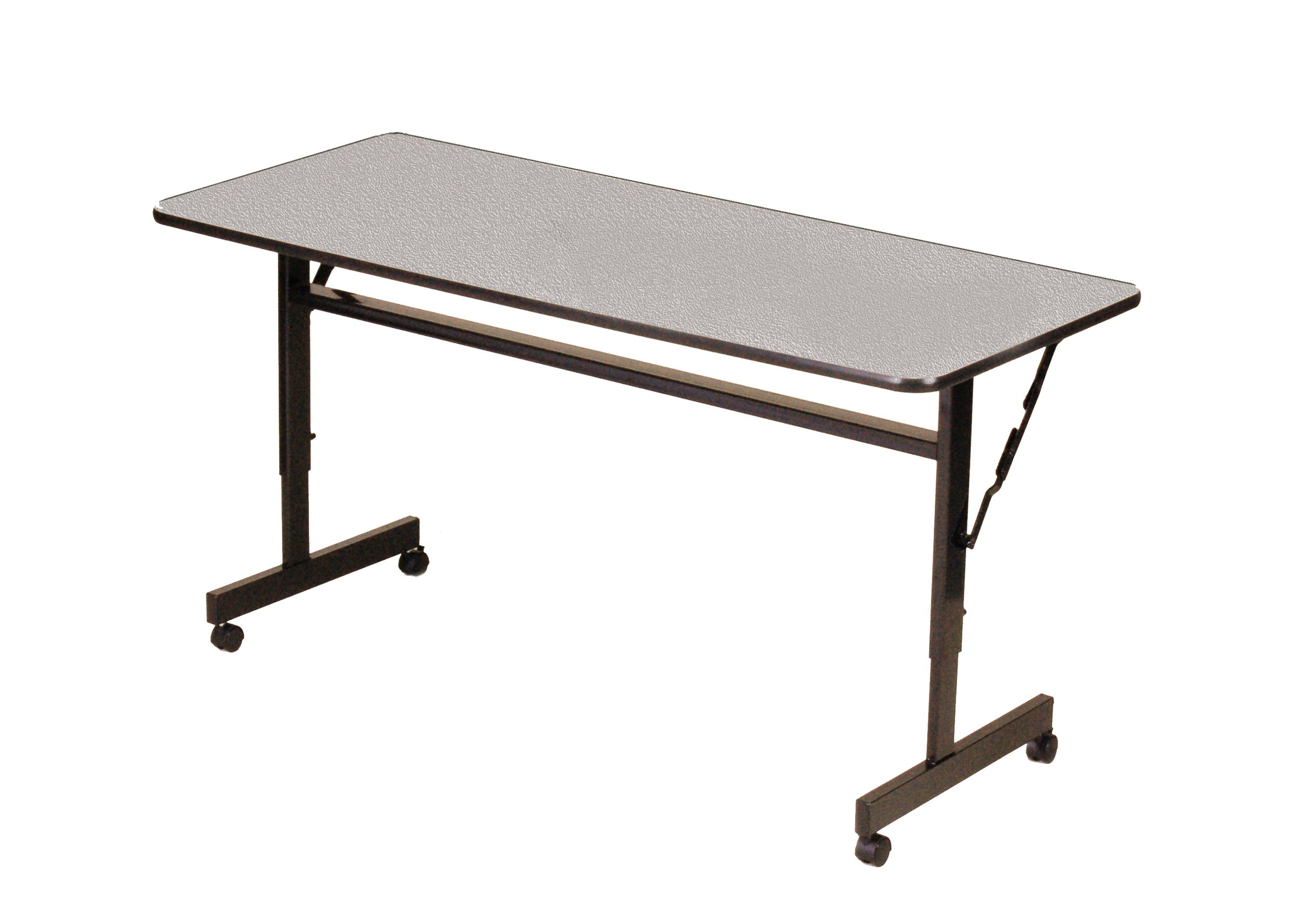 Correll FT2448M-15 EconoLine Flip Top Table, 24'' x 48'', Adjustable Height, Gray Granite Melamine Top, Rectangle, Seats 2
