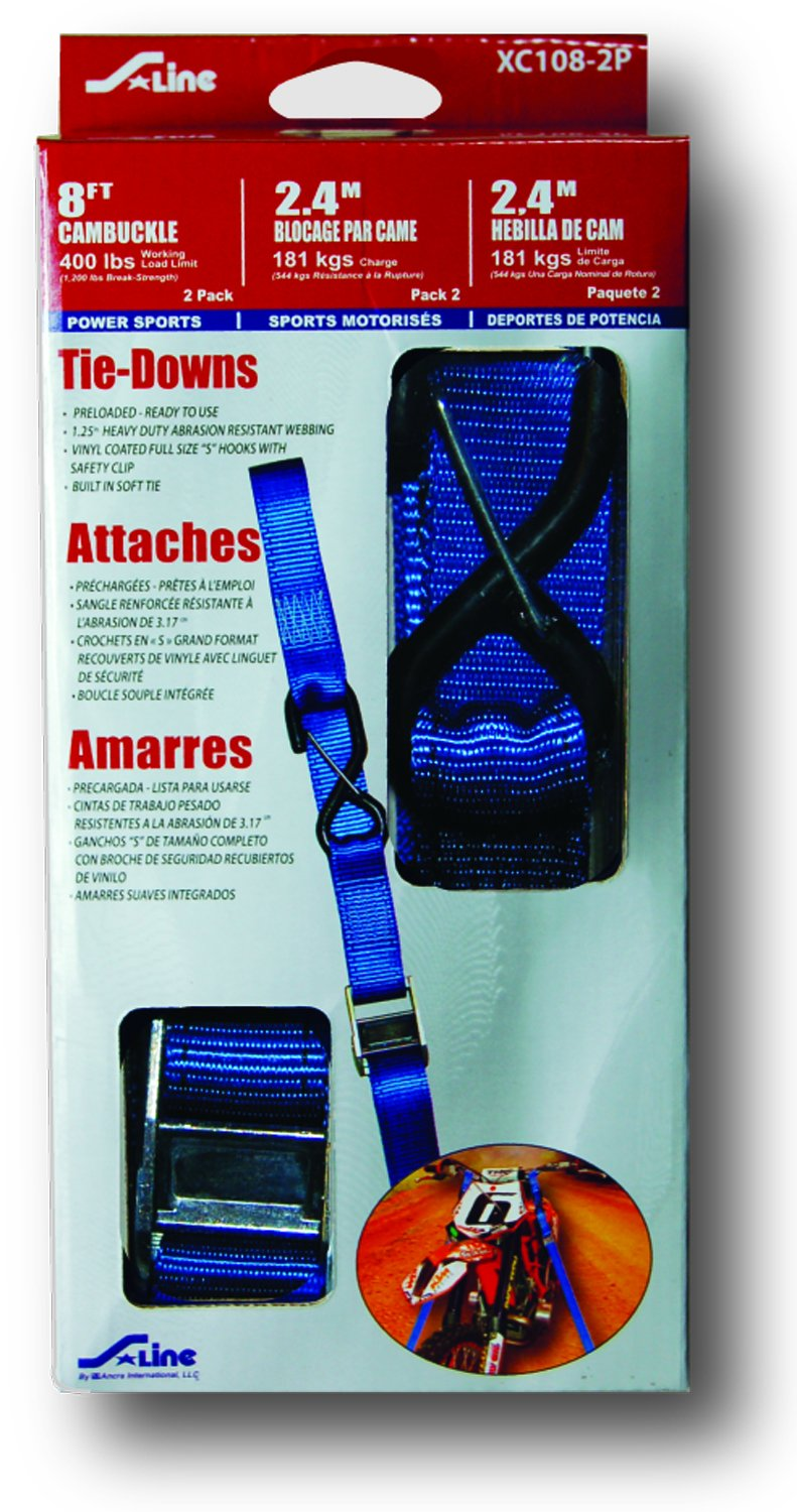 Amazon.com: S-Line XC115-2P Heavy Duty Cam Buckle Strap with Double J-Hooks, 1-1/4-Inch by 15-Feet, 800-Pounds Working Load Limit, 2-Pack: Home Improvement