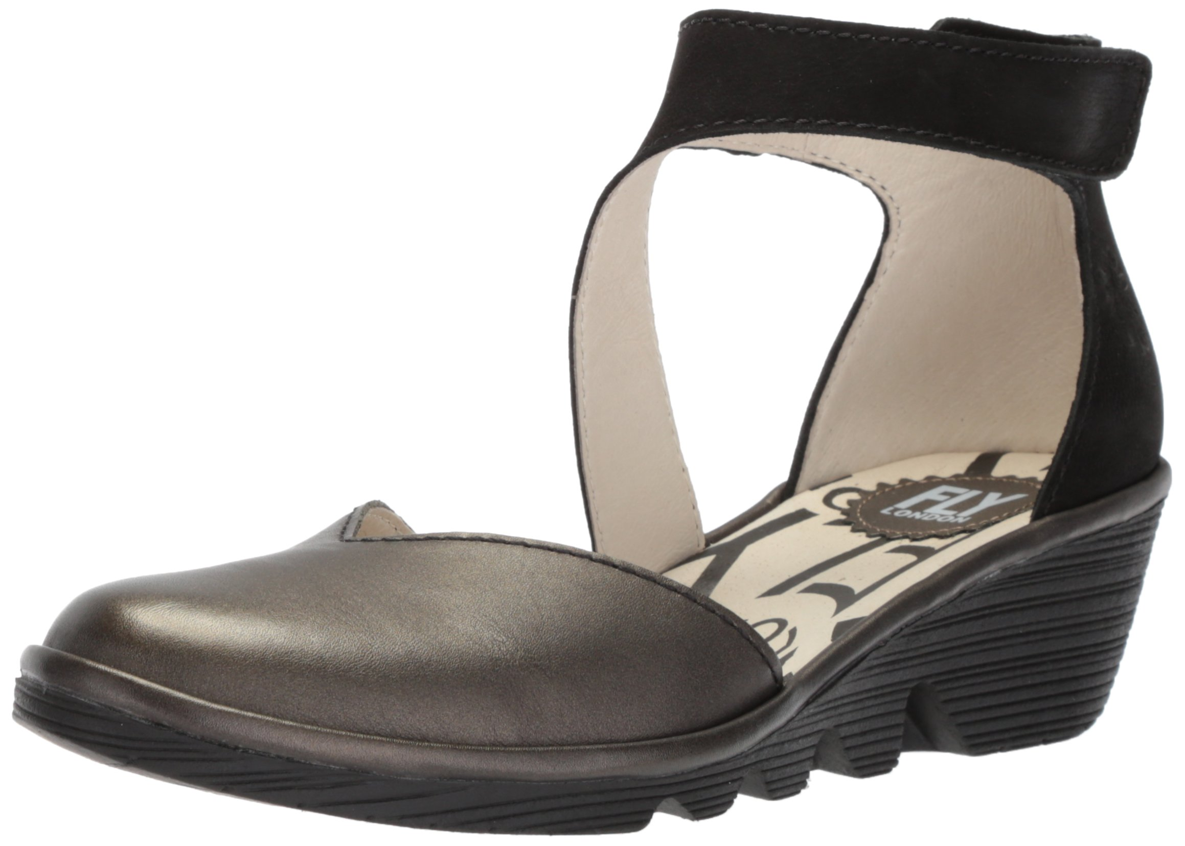 FLY London Women's PATS801FLY Wedge Sandal, Anthracite/Black Grace/Cupido, 38 M EU (7.5-8 US)