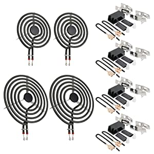 "AMI PARTS MP22YA Electric Range Surface Burner Coil Unit Set (2-MP15YA 6"" & 2-MP21YA 8"") with 4-330031 Plug-In Block Kit Replacement Part Compatible with Whirlpool, KitchenAid, Maytag Oven"