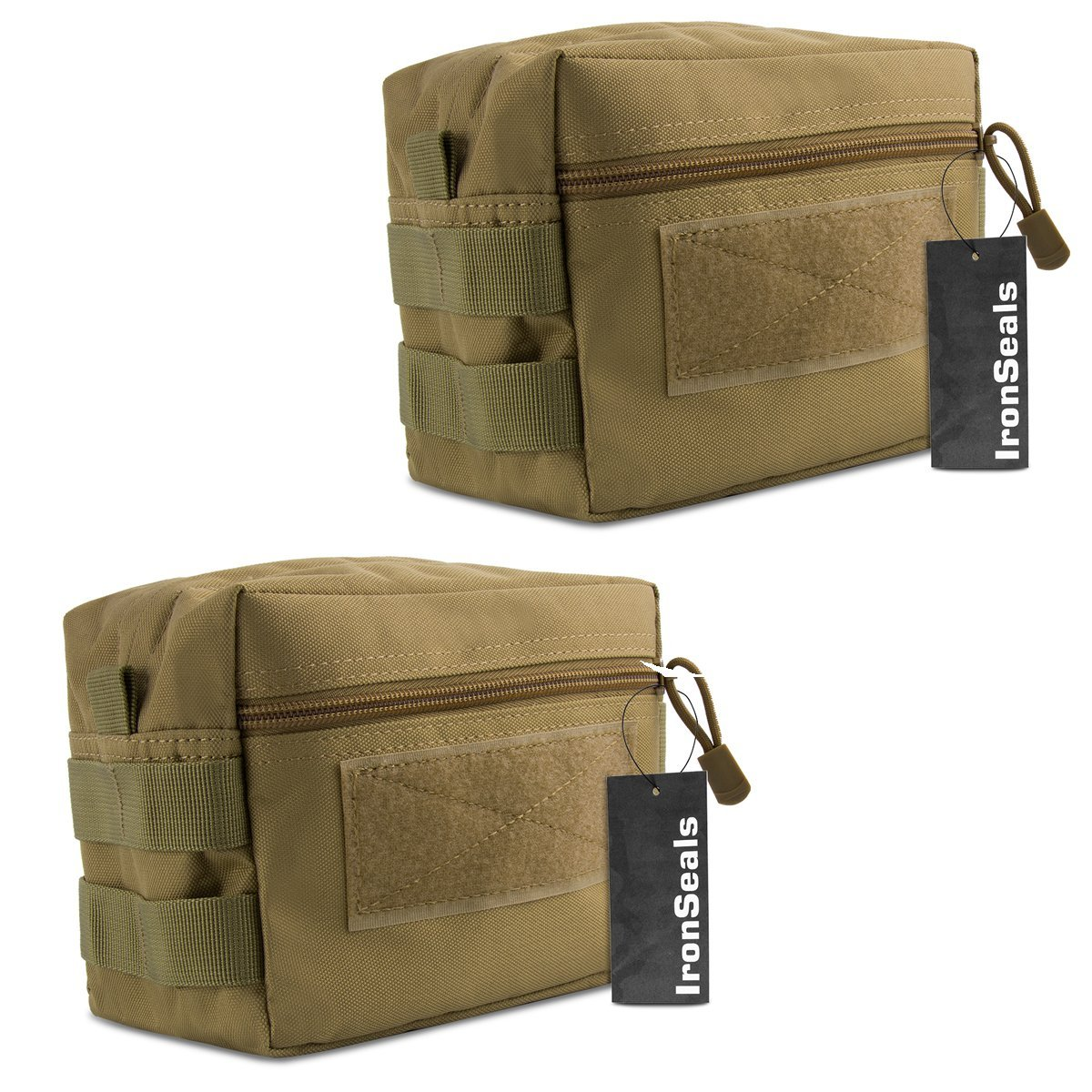IronSeals MOLLE Pouch, 2 Pack Multi-Purpose Tactical Compact Water-Resistant Utility Gadget Gear EDC Pouch