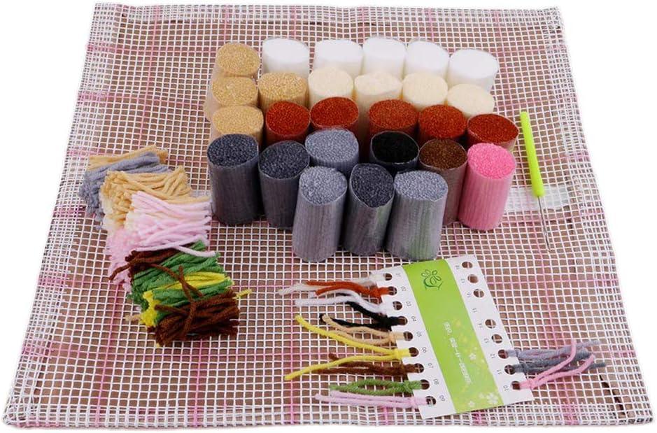 Latch Hook Kits DIY Crocheting Embroidery Throw Pillow Needlework Cross Stitch Kits Wolf