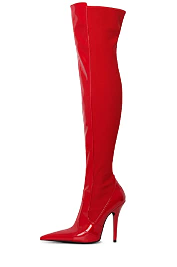 990b4c0f045 Jeffrey Campbell Raider OTK Over The Knee Red Patent Pointy Thigh High Heel  Boot (8