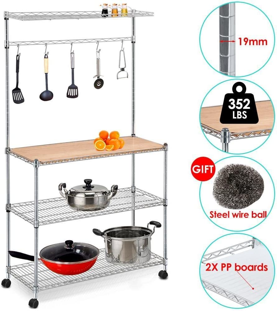 Yaheetech 35in L x 14in W x 61in H 4 Tiers Adjustable Kitchen Bakers Rack Kitchen Cart Microwave Stand with Bamboo Cutting Board Standing Chrome Finish Shelves Coffee Workstation