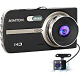 """AIMTOM ND-9 4.0"""" LCD Screen HD Dash Cam Car Recorder, 170 Degree Front + 120 Degree Rear Dual Lens Wide Angle Vehicle Dashboard Camera G-Sensor, WDR, Motion Detection, Night Vision, Parking Guard …"""