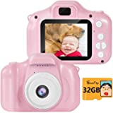 SUNCITY Girl Toys Gifts Kids Camera for 2 3 4 5 6 7 8 Years Old Birthday Presents Video Camera 2 Inch Screen with 32GB…