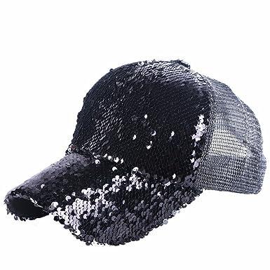 Llxln New Trendy Women Girl Luxury Summer Cap Hat Black Silver Pink Sequin  Handmade Mesh Cool 3ed1d41dbf9